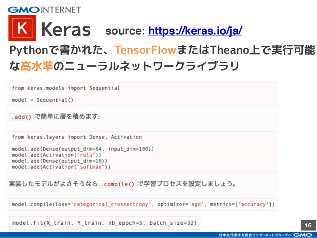 16 Keras source: https://keras.io/ja/ Pythonで書か...