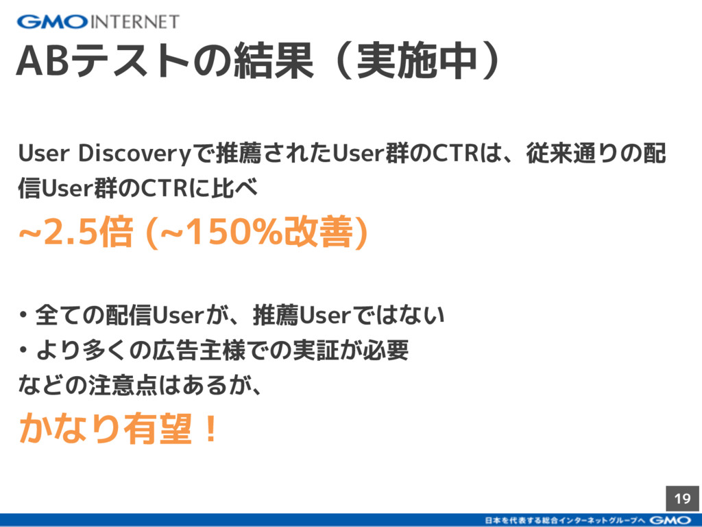 19 ABテストの結果(実施中) User Discoveryで推薦されたUser群のCTRは...