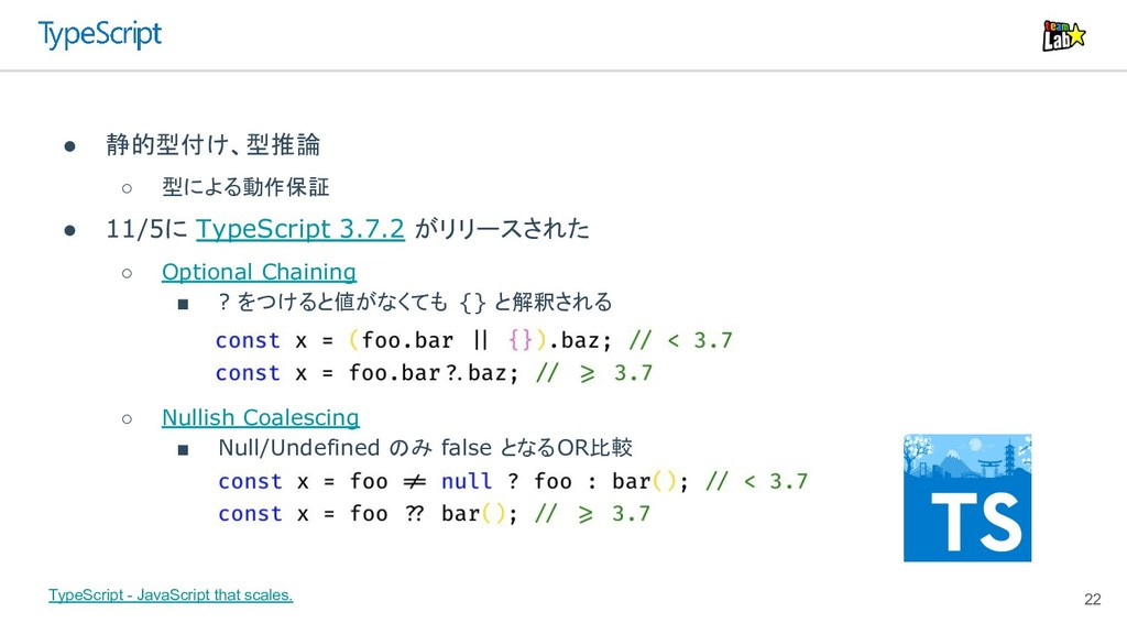 22 ● 静的型付け、型推論 ○ 型による動作保証 ● 11/5に TypeScript 3....
