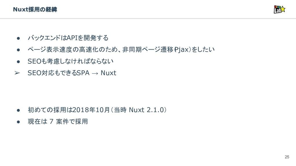 Nuxt採用の経緯 ● バックエンドはAPIを開発する ● ページ表示速度の高速化のため、非同...