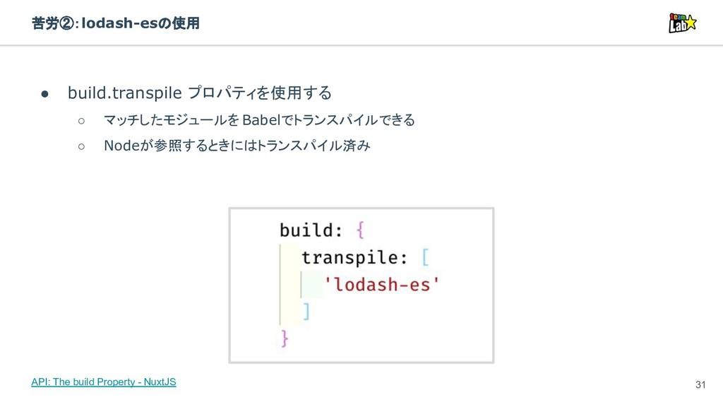 苦労②:lodash-esの使用 ● build.transpile プロパティを使用する ○...