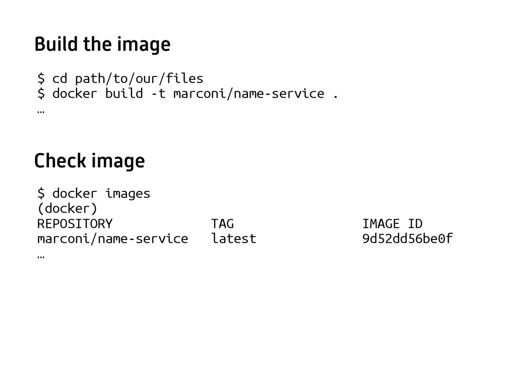 $ cd path/to/our/files $ docker build -t marcon...