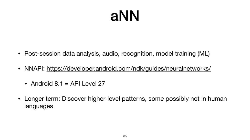 aNN • Post-session data analysis, audio, recogn...