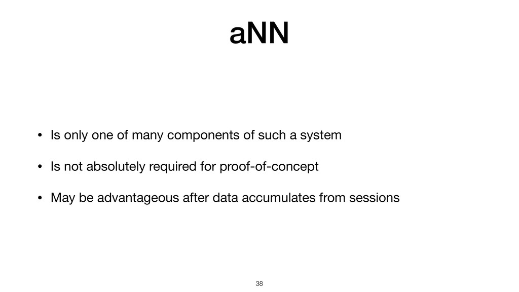 aNN • Is only one of many components of such a ...