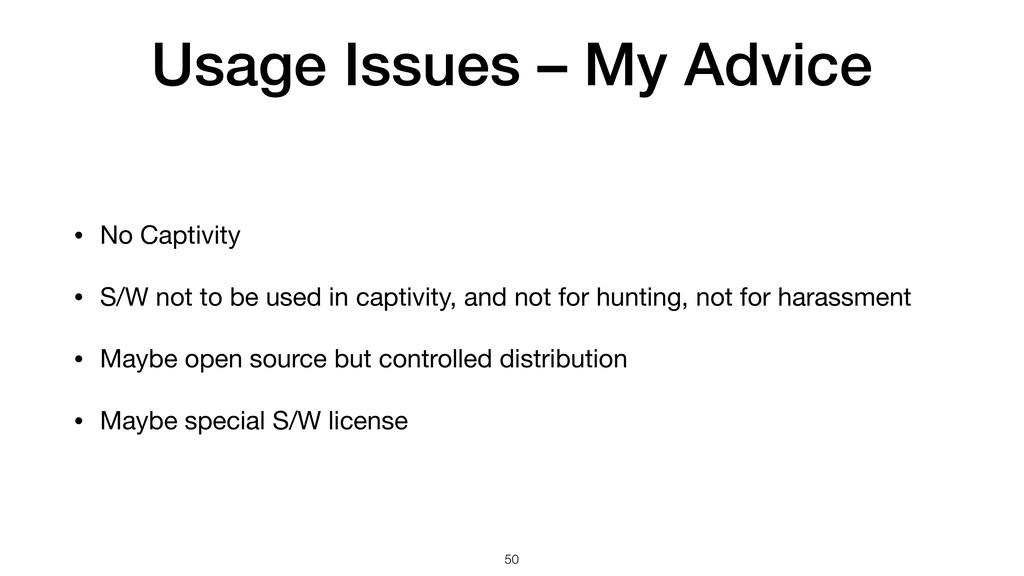 Usage Issues – My Advice • No Captivity  • S/W ...