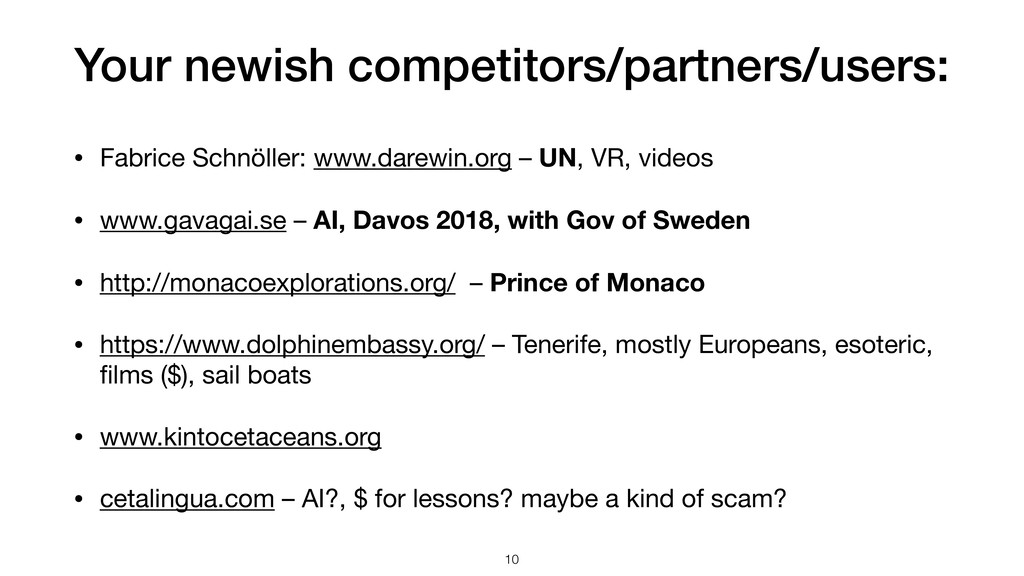 Your newish competitors/partners/users: • Fabri...