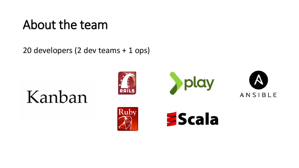 About the team 20 developers (2 dev teams + 1 o...