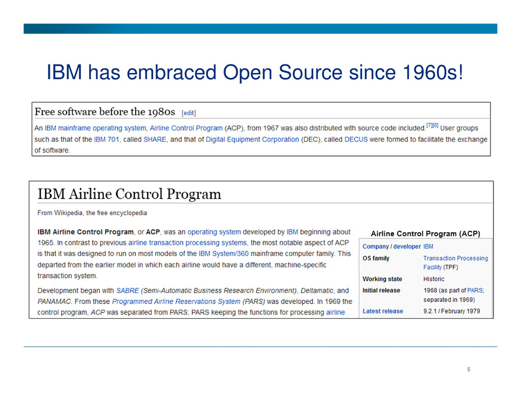 IBM has embraced Open Source since 1960s! 5