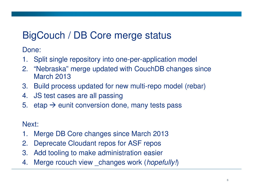 BigCouch / DB Core merge status Done: 1. Split ...