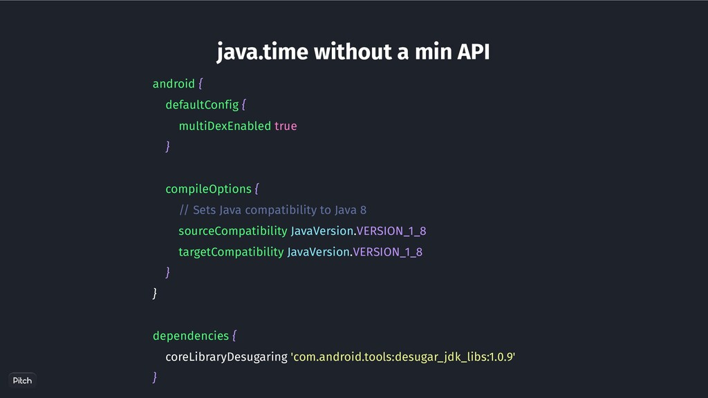 java.time without a min API android { defaultCo...