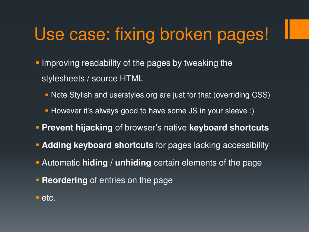 Use case: fixing broken pages!  Improving read...