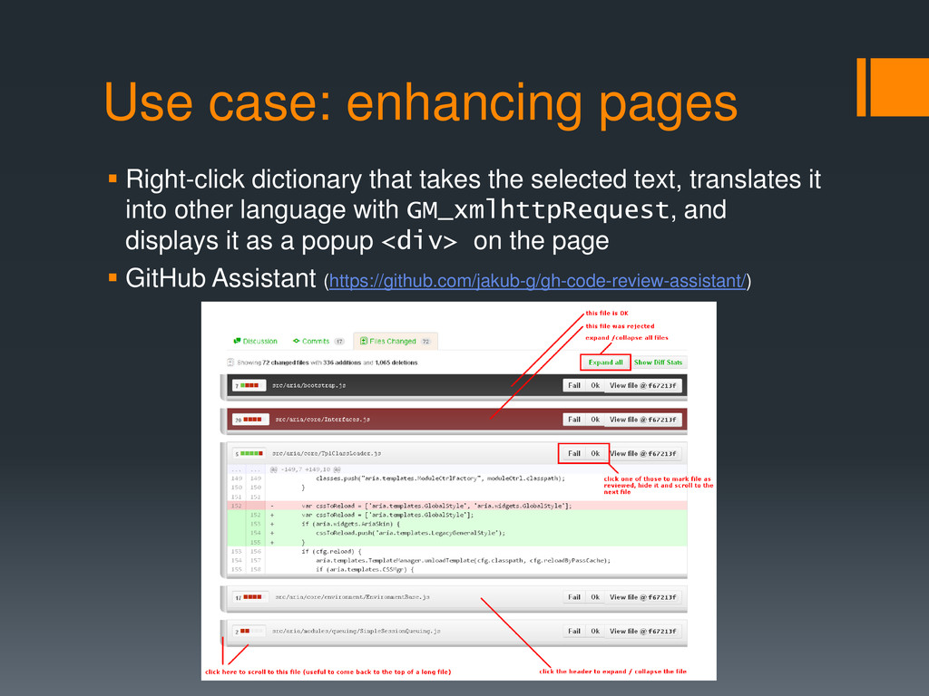 Use case: enhancing pages  Right-click diction...
