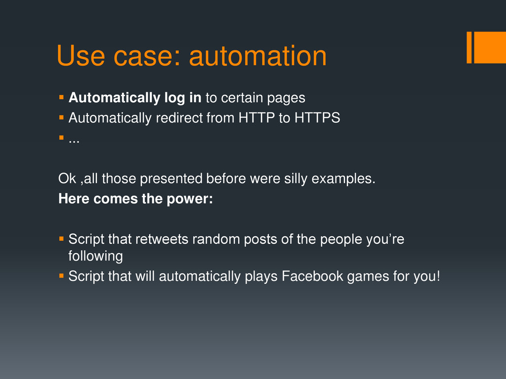 Use case: automation  Automatically log in to ...