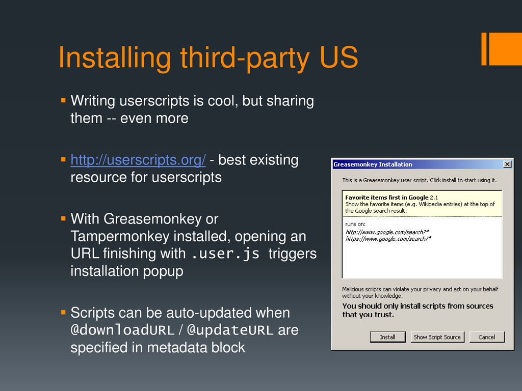 Installing third-party US  Writing userscripts...