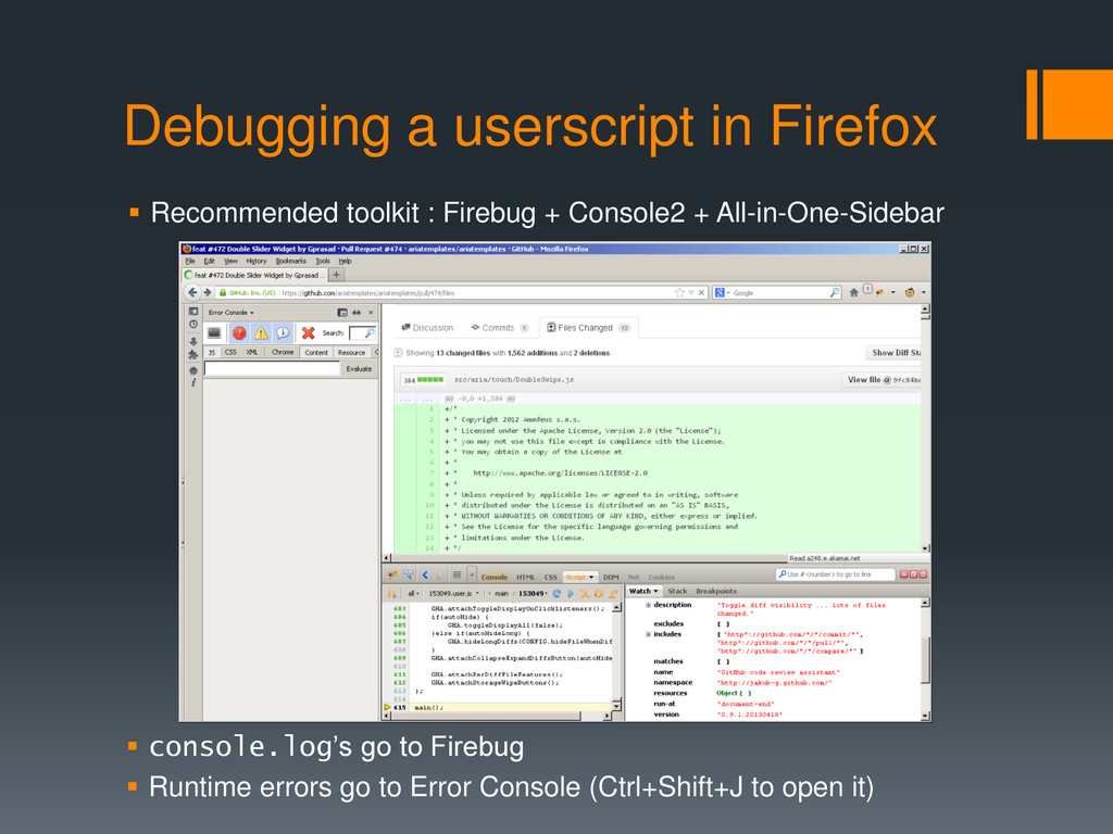 Debugging a userscript in Firefox  Recommended...