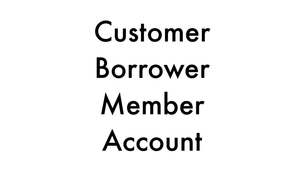 Customer Borrower Member Account