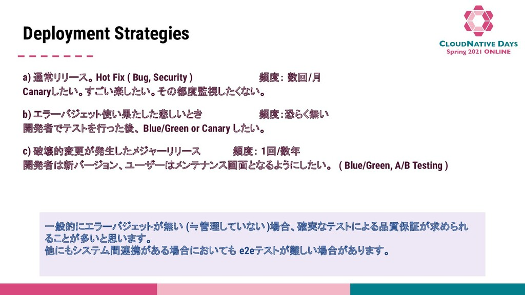 Title Name Deployment Strategies a) 通常リリース。Hot ...