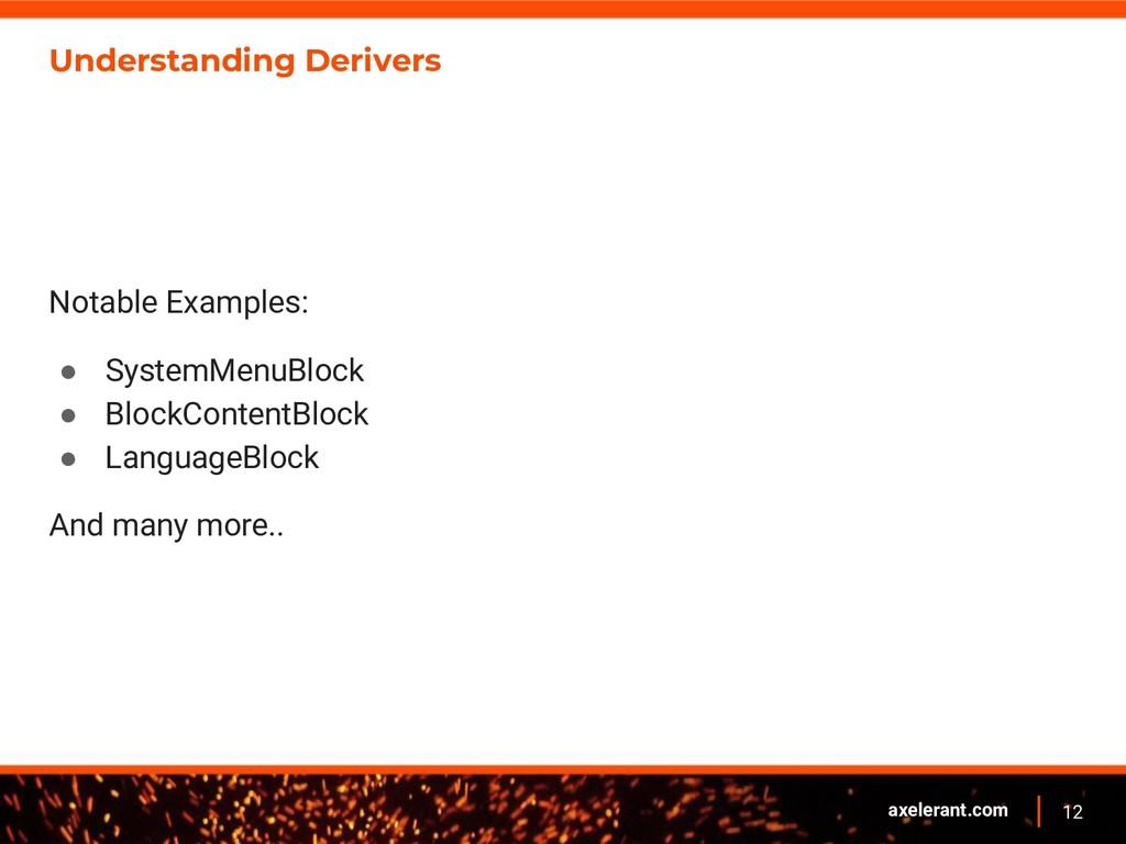 12 axelerant.com Understanding Derivers Notable...