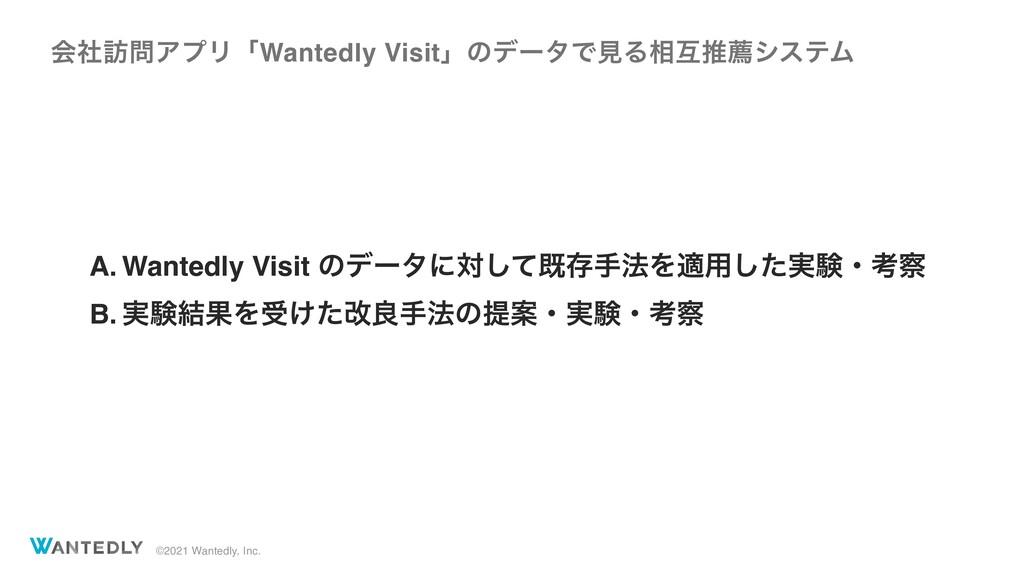 ©2021 Wantedly, Inc. A. Wantedly Visit ͷσʔλʹରͯ͠...