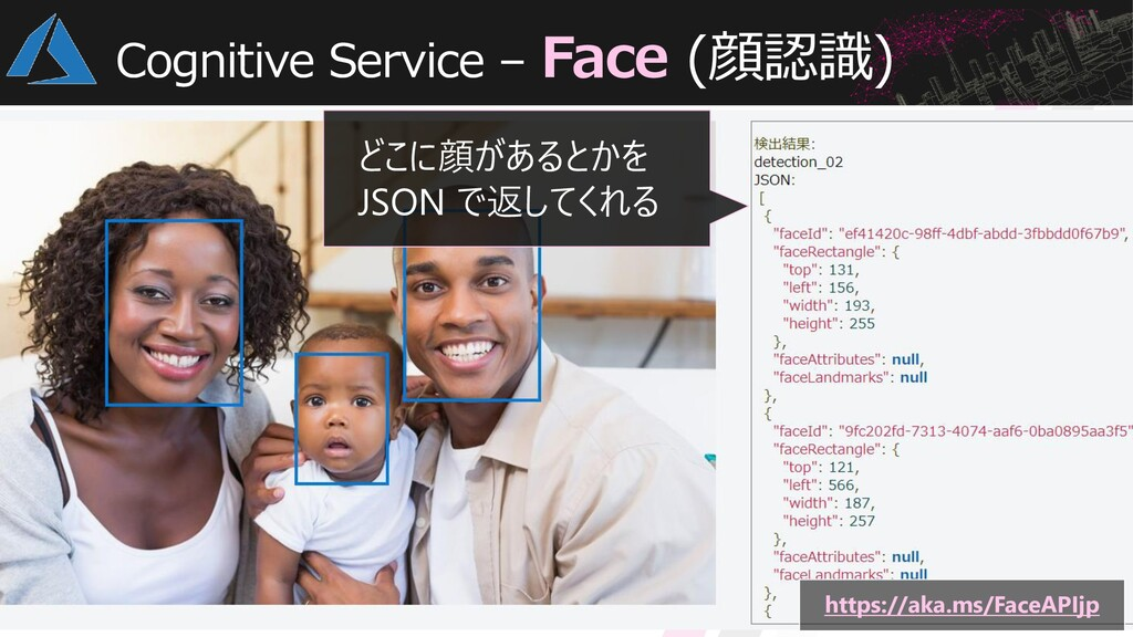 Cognitive Service – Face (顔認識) どこに顔があるとかを JSON ...