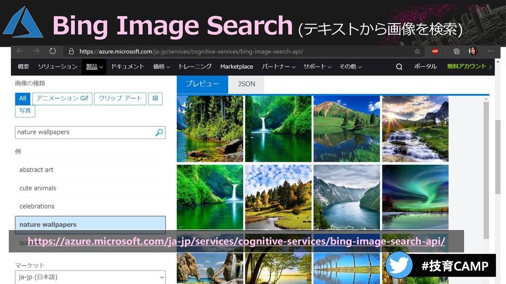 Bing Image Search (テキストから画像を検索) https://azure.m...