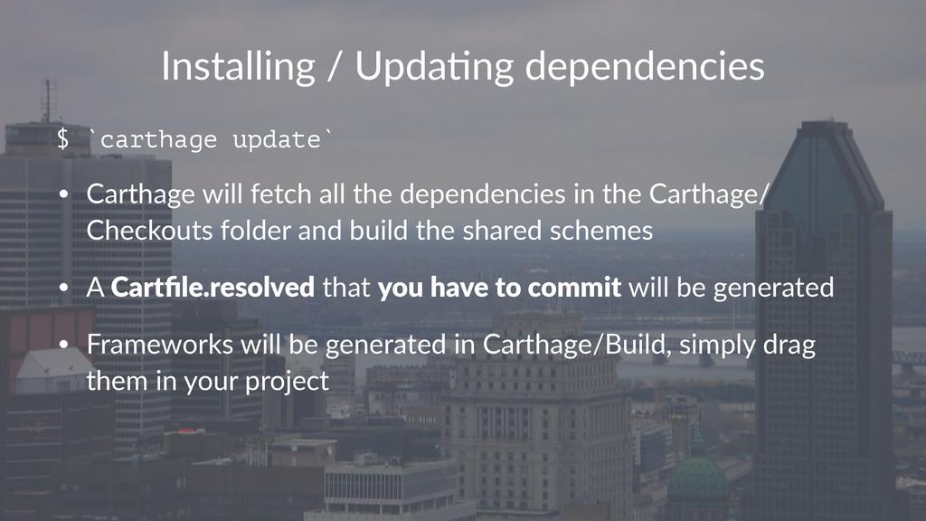 Installing)/)Upda.ng)dependencies $ `carthage u...