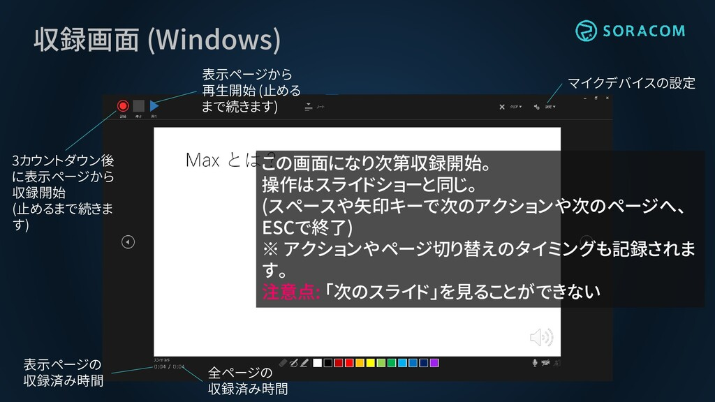 収録画面 (Windows) 3カウントダウン後 に表示ページから 収録開始 (止めるまで続き...