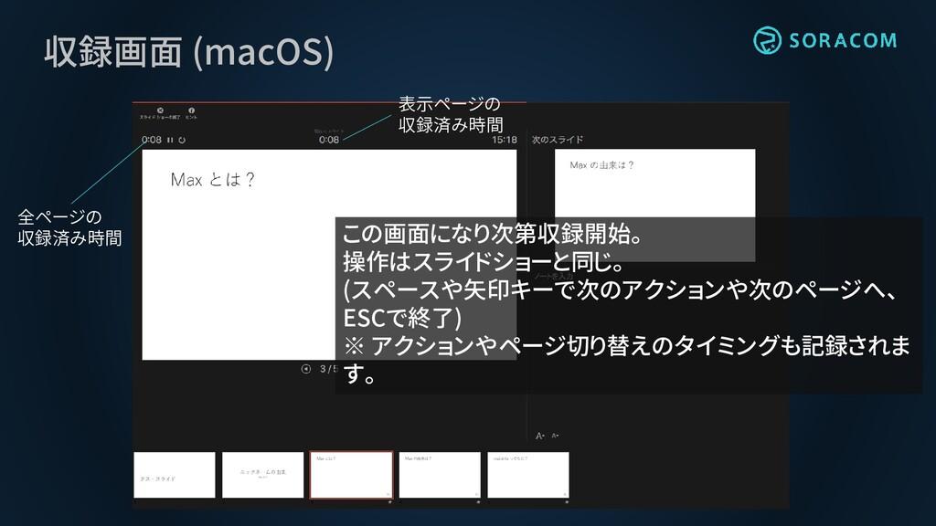 収録画面 (macOS) この画面になり次第収録開始。 操作はスライドショーと同じ。 (スペー...