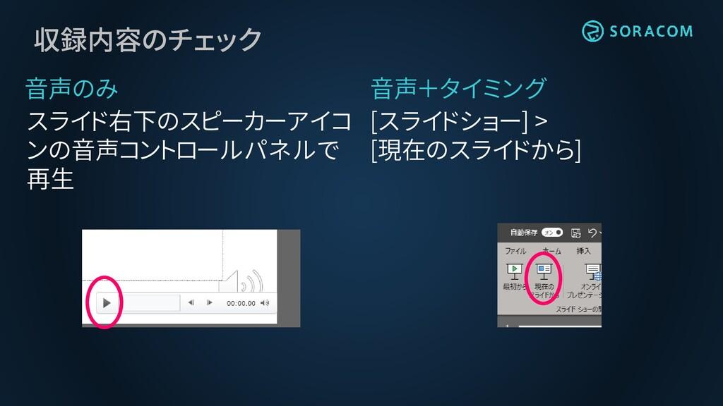 収録内容のチェック 音声のみ スライド右下のスピーカーアイコ ンの音声コントロールパネルで 再...