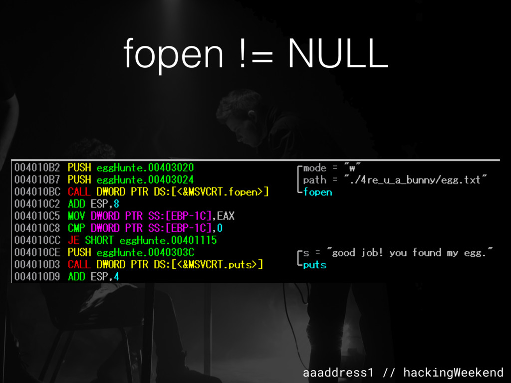 aaaddress1 // hackingWeekend fopen != NULL