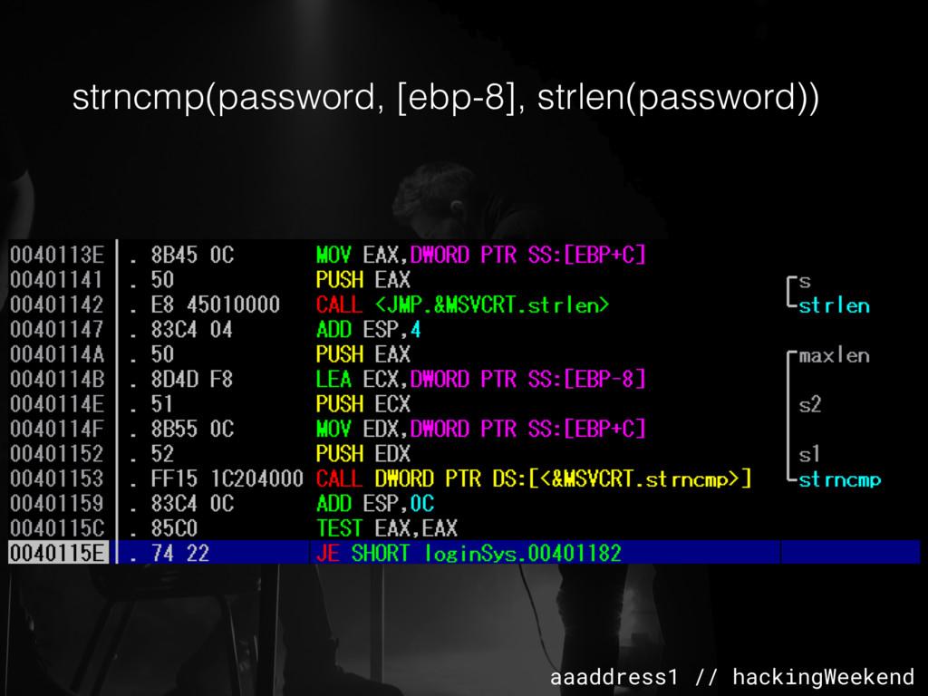 aaaddress1 // hackingWeekend strncmp(password, ...