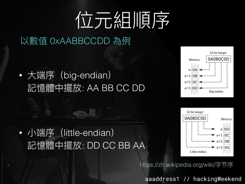 aaaddress1 // hackingWeekend • ⼤大端序(big-endian)...
