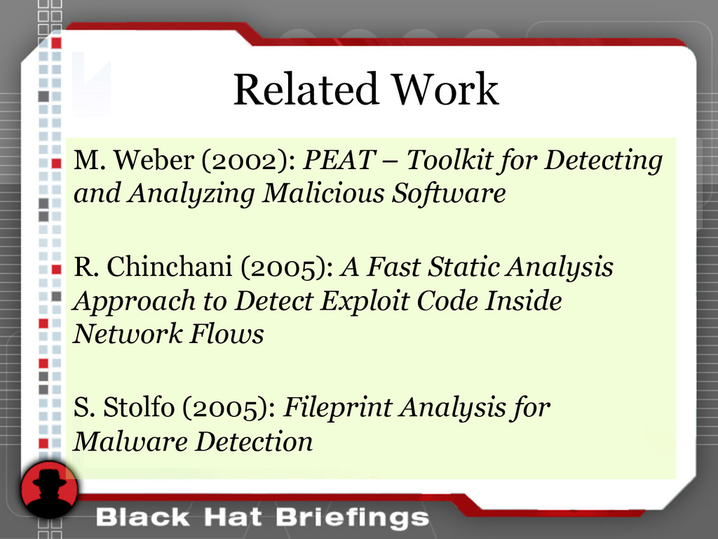 Related Work M. Weber (2002): PEAT – Toolkit fo...