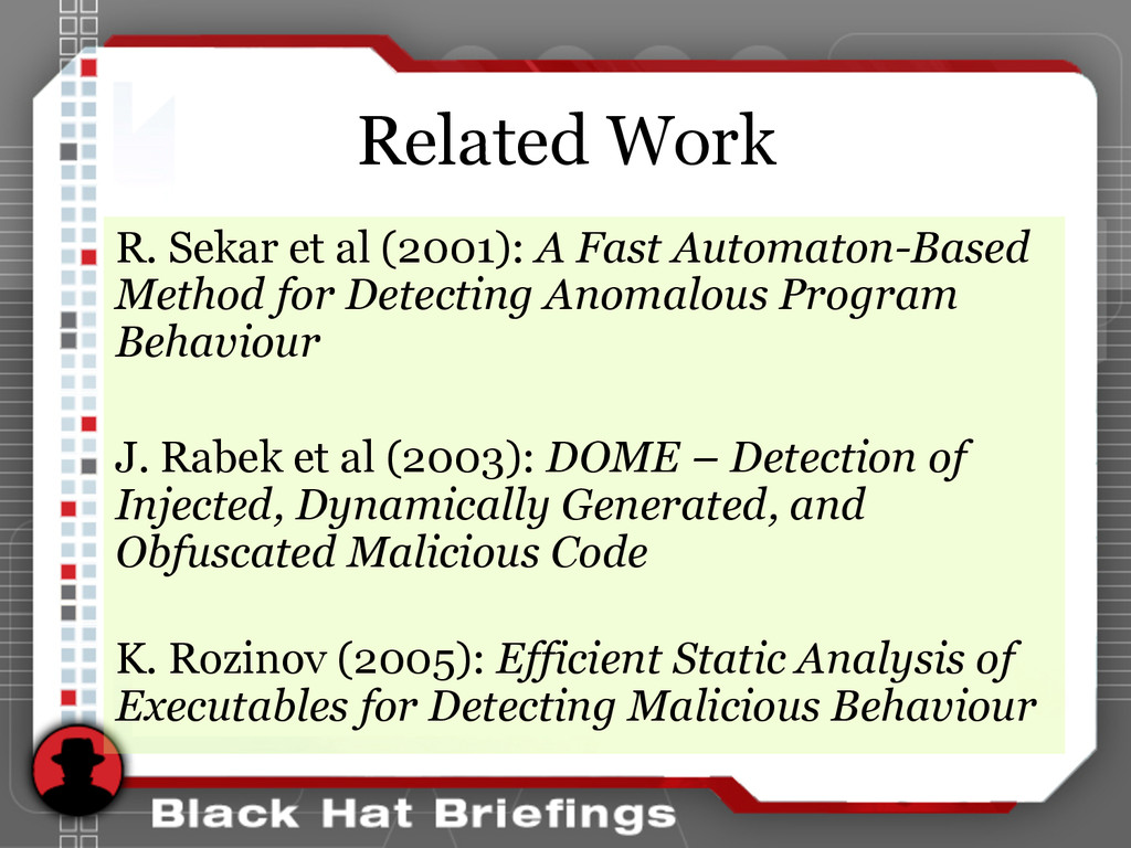 Related Work R. Sekar et al (2001): A Fast Auto...