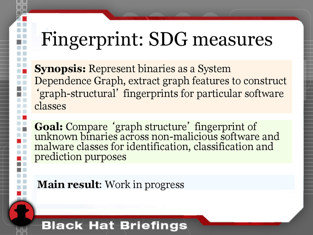 Fingerprint: SDG measures Goal: Compare 'graph ...
