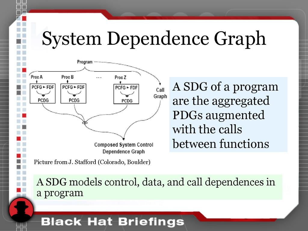 System Dependence Graph A SDG models control, d...
