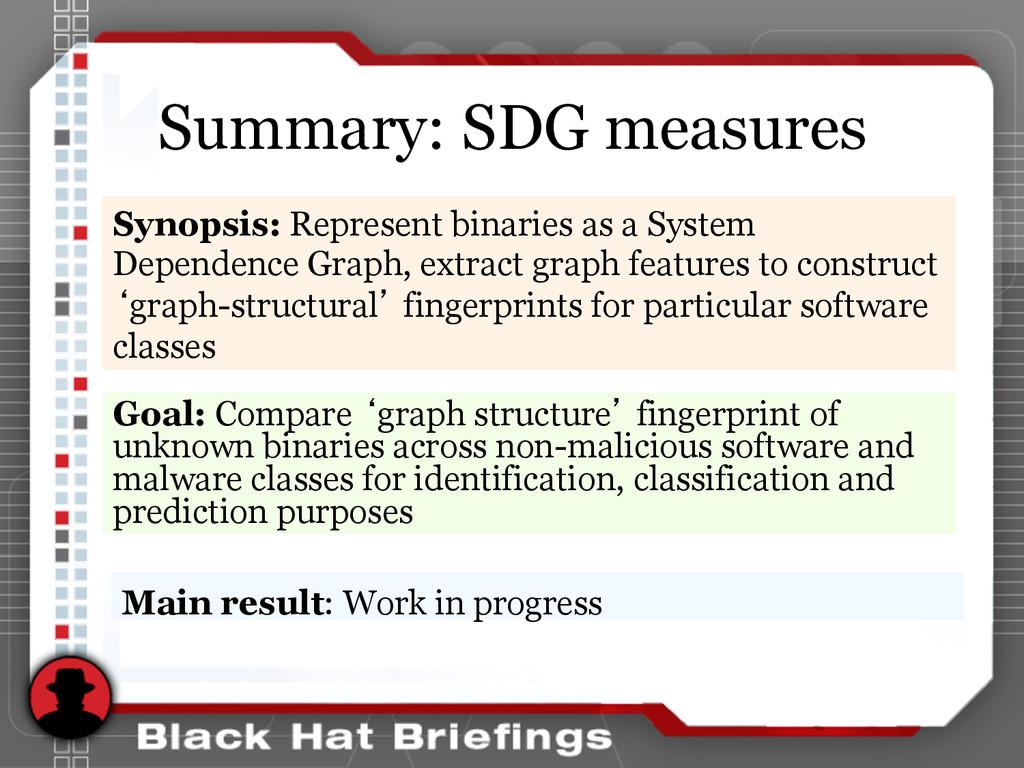 Summary: SDG measures Goal: Compare 'graph stru...