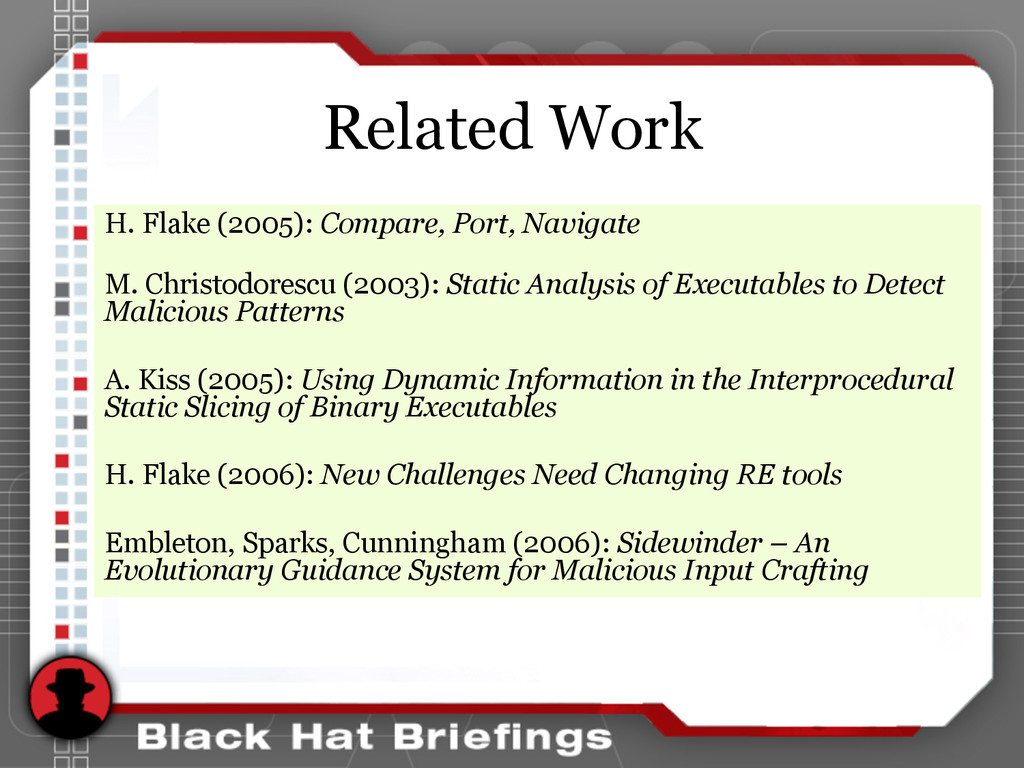Related Work H. Flake (2005): Compare, Port, Na...