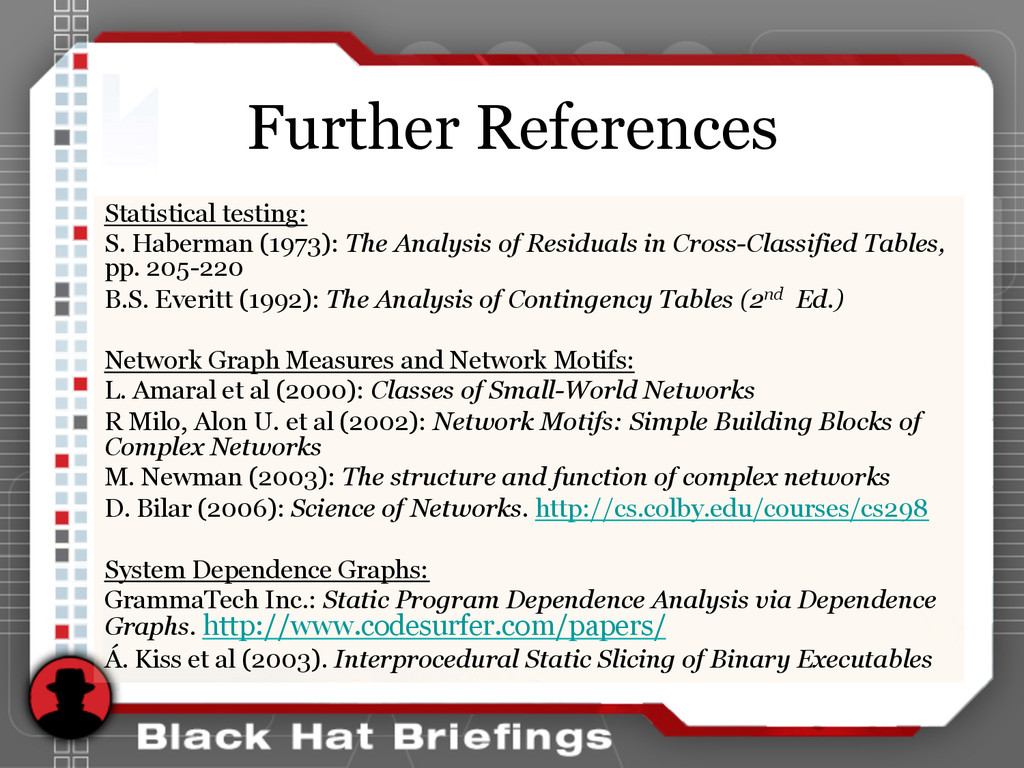 Further References Statistical testing: S. Habe...