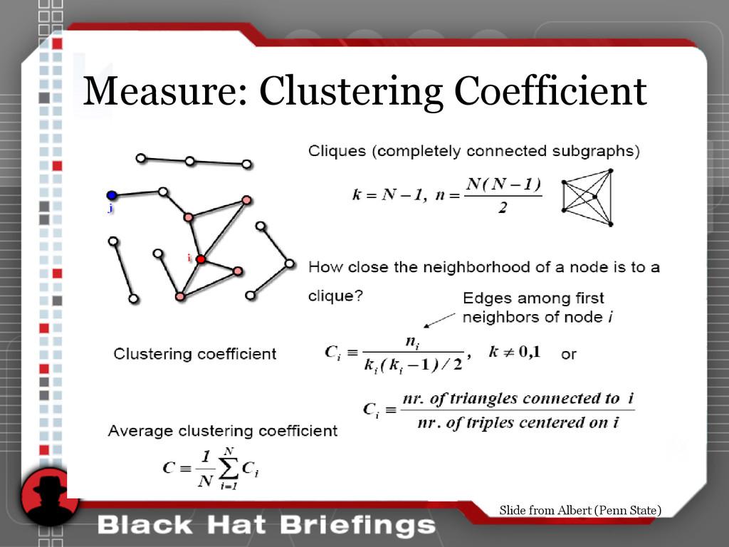Measure: Clustering Coefficient Slide from Albe...