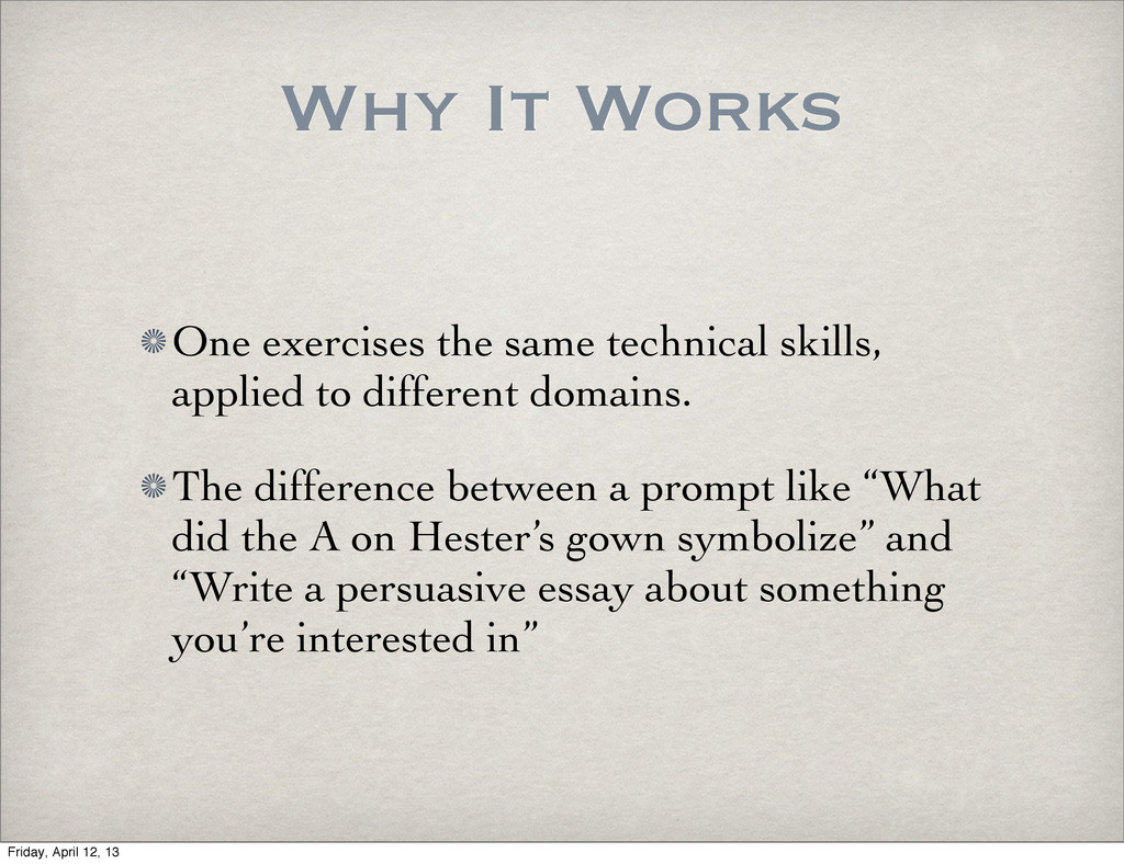 Why It Works One exercises the same technical s...