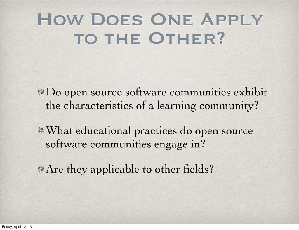 How Does One Apply to the Other? Do open source...