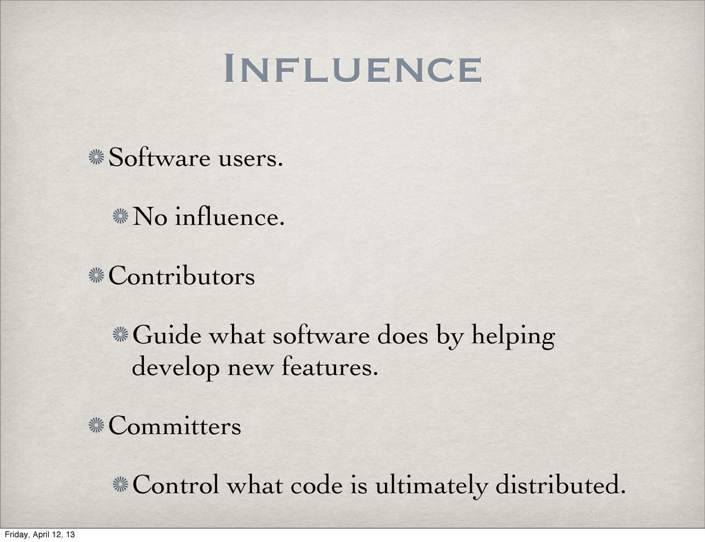 Influence Software users. No influence. Contribu...