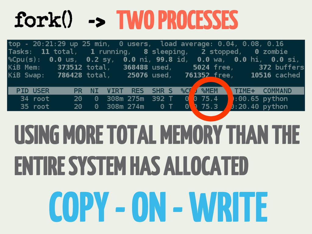 -> TWO PROCESSES fork() USING MORE TOTAL MEMORY...