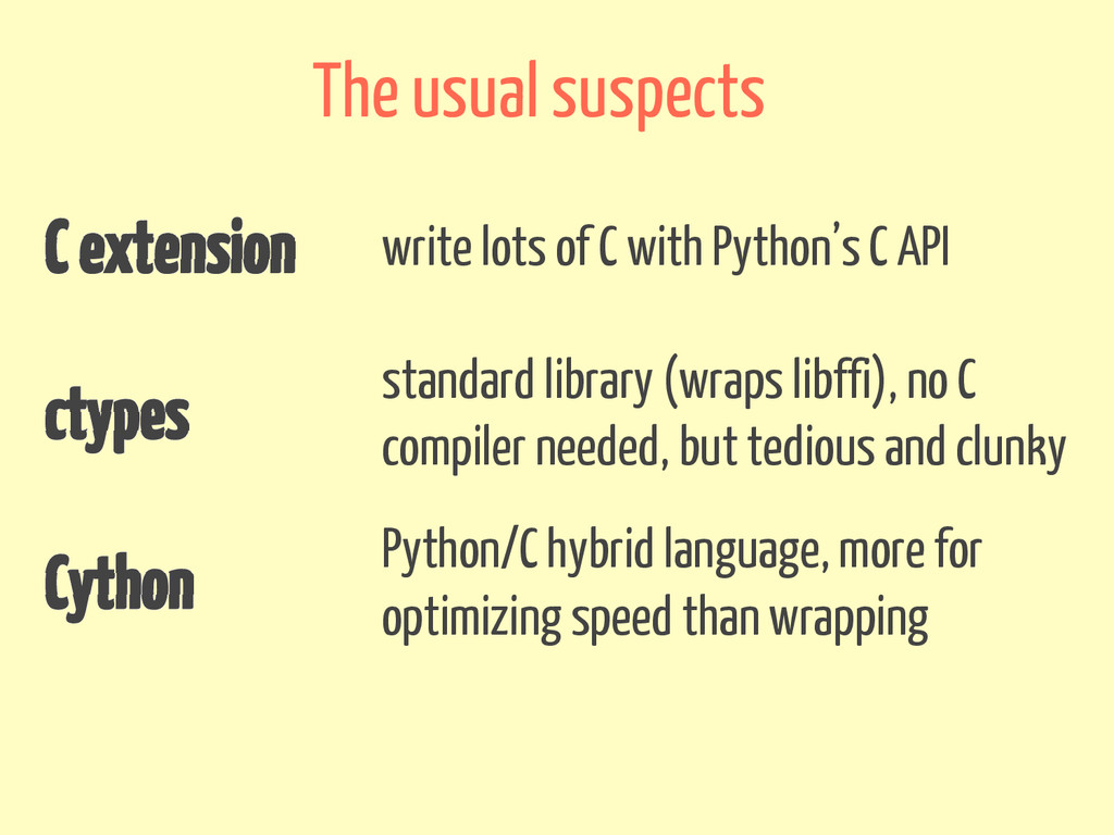 C extension write lots of C with Python's C API...
