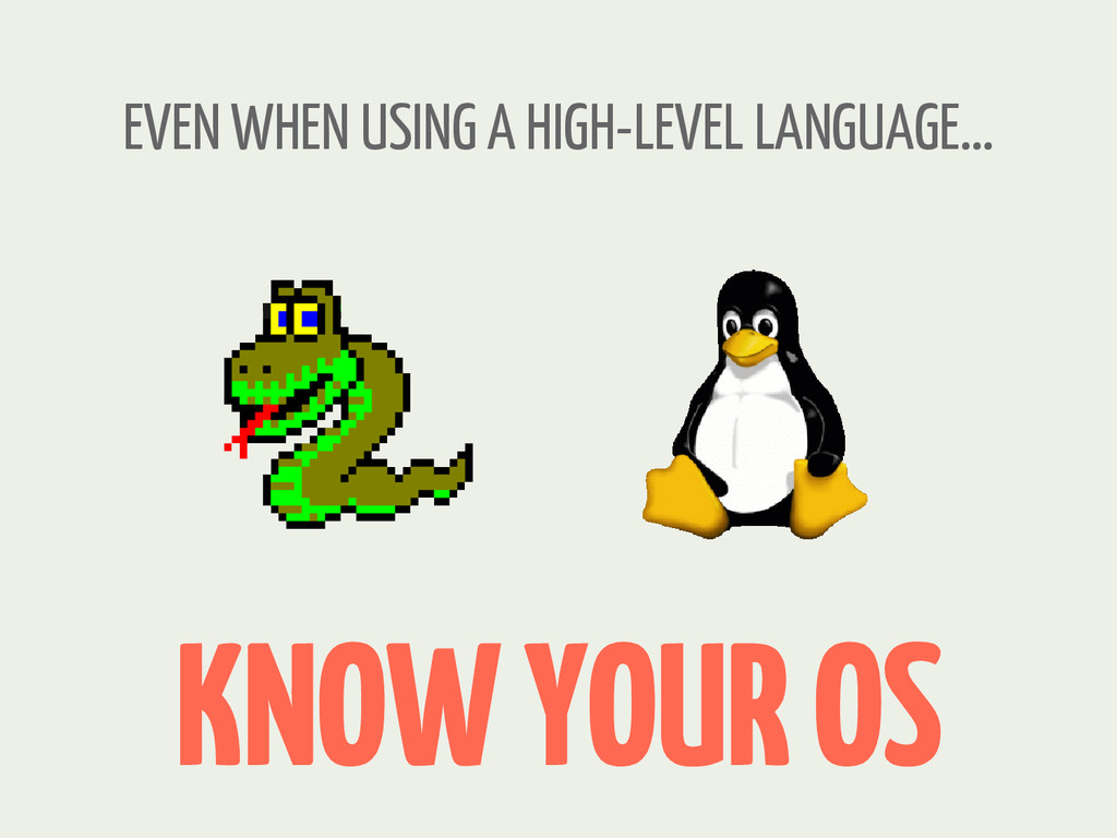 KNOW YOUR OS EVEN WHEN USING A HIGH-LEVEL LANGU...