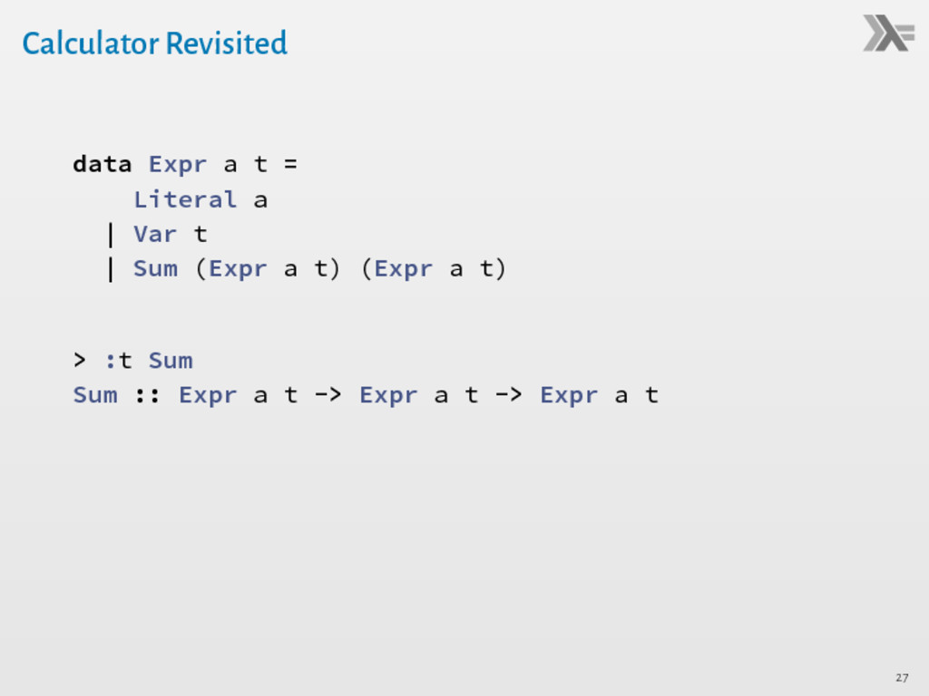 Calculator Revisited data Expr a t = Literal a ...