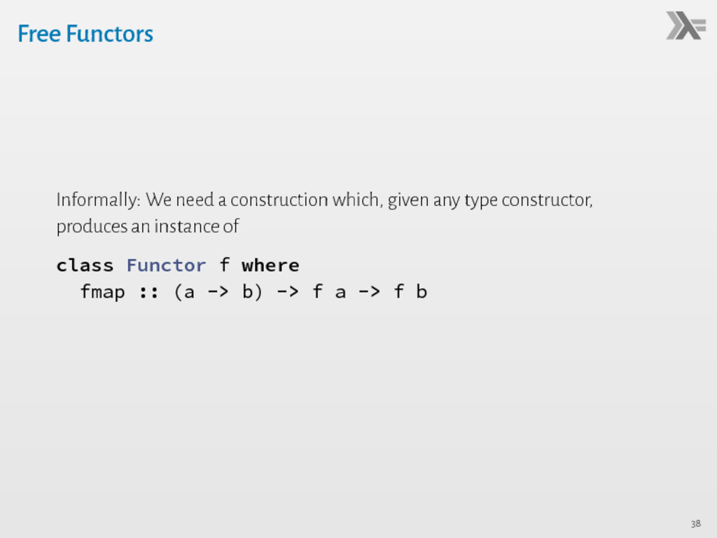 Free Functors Informally: We need a constructio...