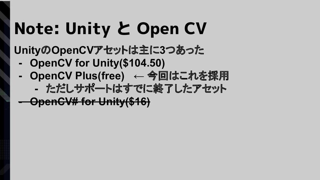 Note: Unity と Open CV UnityのOpenCVアセットは主に3つあった ...