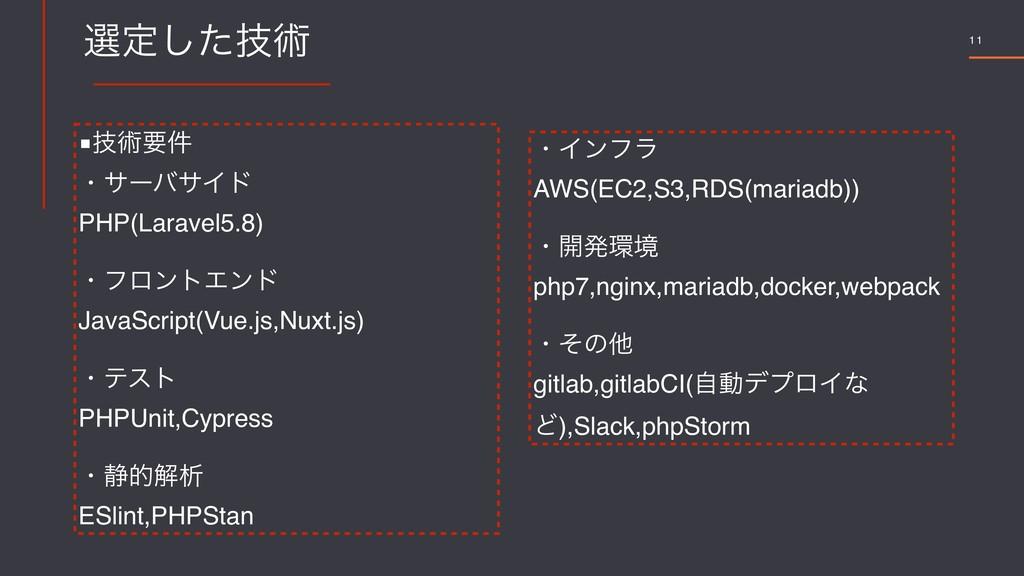 11 બఆٕͨ͠ज़ ■ٕज़ཁ݅ ɾαʔόαΠυ PHP(Laravel5.8) ɾϑϩϯτΤϯ...